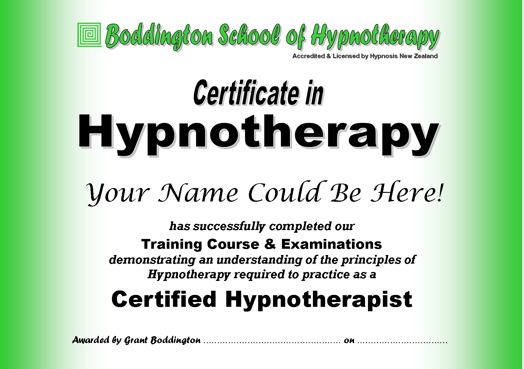 Certificate in Hypnotherapy