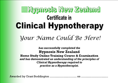 Your Qualification will be the HNZ                           Certificate in Clinical Hypnotherapy