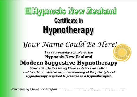 Your Qualification will be the                           Hypnosis New Zealand Certificate in                           Hypnotherapy
